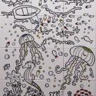Peisaj subacvatic caluti de mare, pesti - fond alb - Faianta pictata pentru baie - ARTELUX