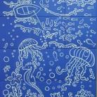 Peisaj subacvatic caluti de mare, pesti - fond albastru - Faianta pictata pentru baie - ARTELUX