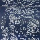 Peisaj subacvatic caluti de mare pesti - fond bleu marine - Faianta pictata pentru baie -