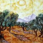 Maslini cu cer galben si soare - Faianta pictata pentru dormitor - ARTELUX
