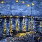 Noapte instelata peste Ron - Faianta pictata pentru dormitor - ARTELUX