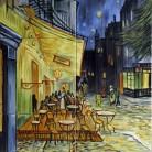 Terasa cafenelei, noaptea - Faianta pictata pentru dormitor - ARTELUX