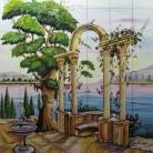 Gradina cu fantana arteziana si coloane pe malul lacului - Faianta pictata pentru dormitor - ARTELUX