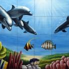 Peisaj subacvatic delfini - Faianta pictata pentru piscine - ARTELUX