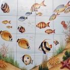 Peisaj subacvatic pesti - Faianta pictata pentru piscine - ARTELUX