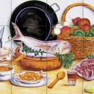 Decor plita cu peste, fructe de mare si ingrediente - Faianta pictata pentru restaurante - ARTELUX