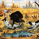 Mistret incercuit de caini de vanatoare - multicolor - Faianta pictata pentru restaurante - ARTELUX