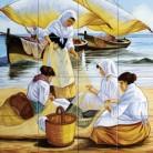 Sotii de pescari reparand un navod - Faianta pictata pentru restaurante - ARTELUX