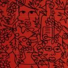 Decor rosu motiv struguri, vin - Faianta pictata pentru restaurante - ARTELUX
