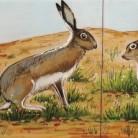 Iepurasi si pasare - Decoruri artistice din faianta pictata pentru living ARTELUX