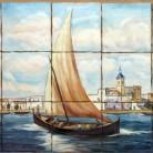 Corabie apropiindu-se de tarm - Decoruri artistice din faianta pictata pentru living ARTELUX