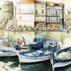 Barci ancorate la mal - Decoruri artistice din faianta pictata pentru living ARTELUX
