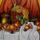 Decor struguri si rodii - Decoruri artistice din faianta pictata pentru living ARTELUX