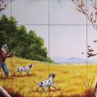 La vanatoare de pasari - Decoruri artistice din faianta pictata pentru living ARTELUX