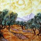 Maslini cu cer galben si soare - Decoruri artistice din faianta pictata pentru living ARTELUX