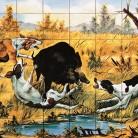 Mistret incercuit de caini de vanatoare - multicolor - Decoruri artistice din faianta pictata pentru living