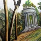 Parc cu lac, toamna - Decoruri artistice din faianta pictata pentru living ARTELUX
