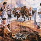 Scena de viata pescareasca - Decoruri artistice din faianta pictata pentru living ARTELUX
