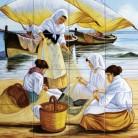 Sotii de pescari reparand un navod - Decoruri artistice din faianta pictata pentru living ARTELUX