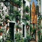 Strada cu cladiri vechi si plante ornamentale - Decoruri artistice din faianta pictata pentru living ARTELUX