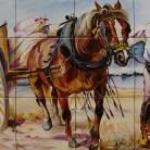Taran cu caruta - Decoruri artistice din faianta pictata pentru living ARTELUX