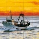 Vapor pe mare - Decoruri artistice din faianta pictata pentru living ARTELUX