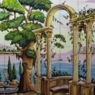 Gradina cu fantana arteziana si coloane pe malul lacului - Decoruri artistice din faianta pictata pentru