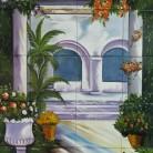 Gradina cu flori si coloane - Decoruri artistice din faianta pictata pentru living ARTELUX