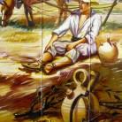 Taran odihnindu-se dupa munca la camp - Decoruri artistice din faianta pictata pentru living ARTELUX