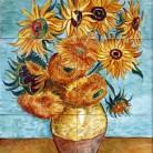 Vaza cu floarea-soarelui - Decoruri artistice din faianta pictata pentru living ARTELUX
