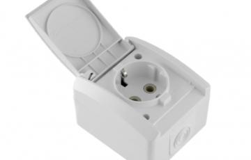 Aparataj electric mini og Priza schuko IP44 policarbonat, Priza schuko IP44 ceramica, Intrerupator IP44, Comutator IP44, Intrerupator cap-scara IP44, Intrerupator scara-cruce IP44, Buton revenire pentru sonerie IP44
