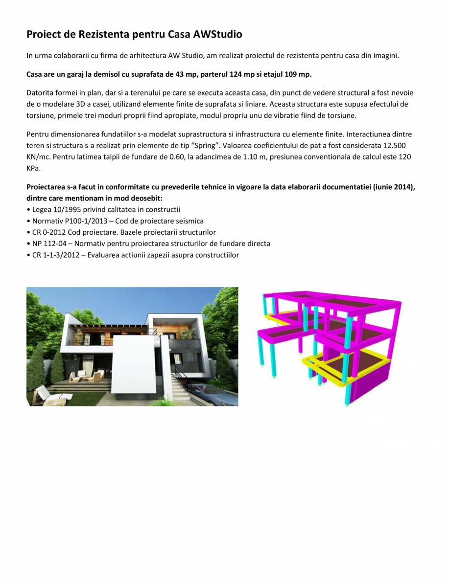 Pagina 1 - Proiect Structura de Rezistenta - Casa AWStudio D+P+1E ArhiProPub Lucrari, proiecte...