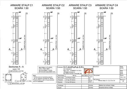 Proiect Structura de Rezistenta - Casa 200 mp - Giulesti Sarbi / Stalpi - Casa 200 mp - Giulesti Sarbi