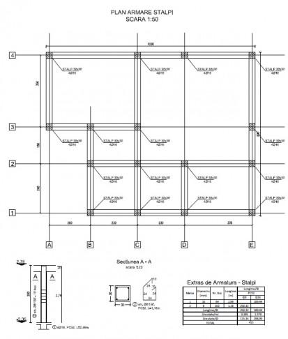 Proiect Structura de Rezistenta - Casa 68 mp - Velciu / Plan armare stalpi - Casa 68 mp - Velciu