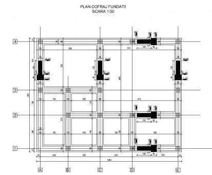 Proiect Structura de Rezistenta - Casa 68 mp - Velciu / Plan cofraj fundatii - Casa 68 mp - Velciu