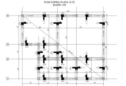 Proiect Structura de Rezistenta - Casa 68 mp - Velciu / Plan cofraj placa - Casa 68 mp - Velciu