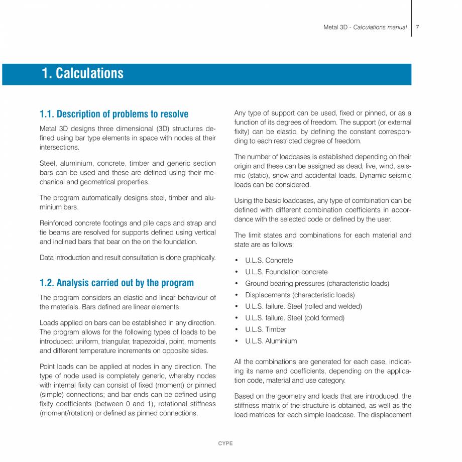 Pagina 7 - Manual de calcule CYPE CYPE 3D Fisa tehnica Engleza Design . . . . . . . . . . . . . . . ...