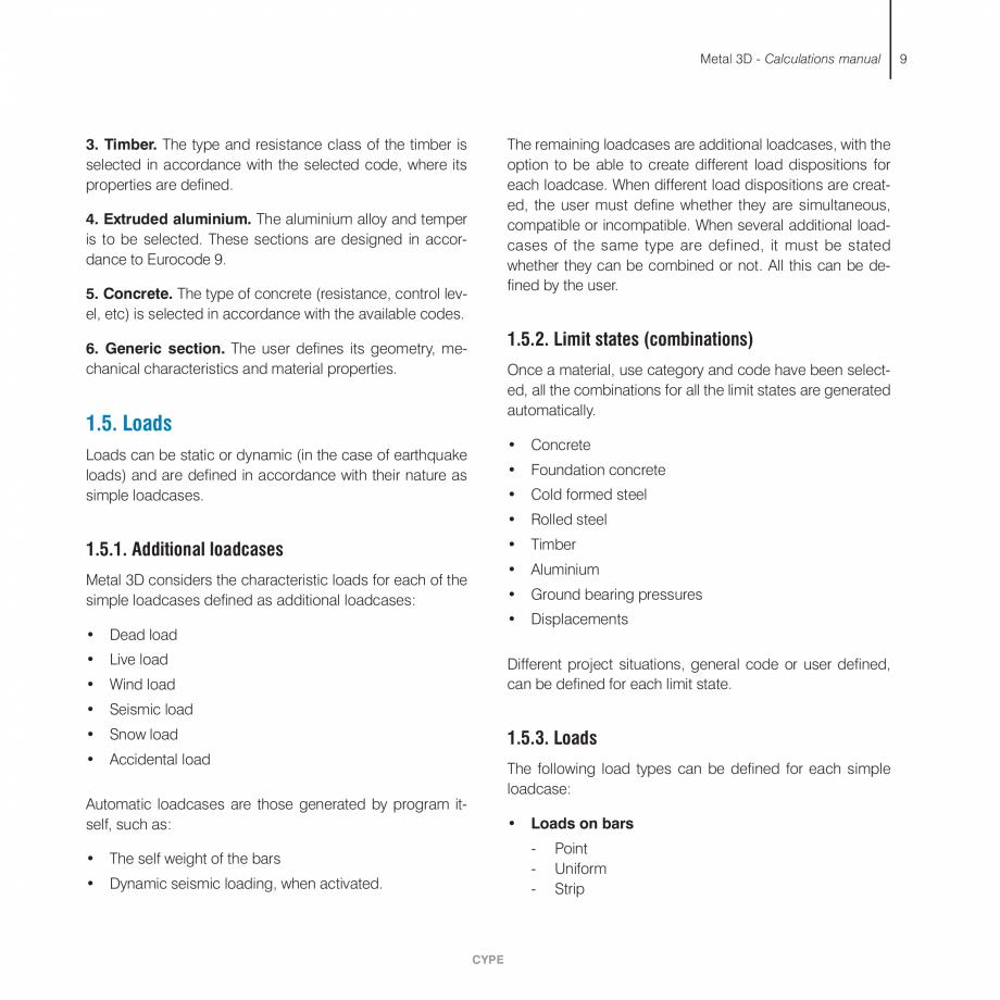 Pagina 9 - Manual de calcule CYPE CYPE 3D Fisa tehnica Engleza eck . . . . . . . . .42  1.13.5....