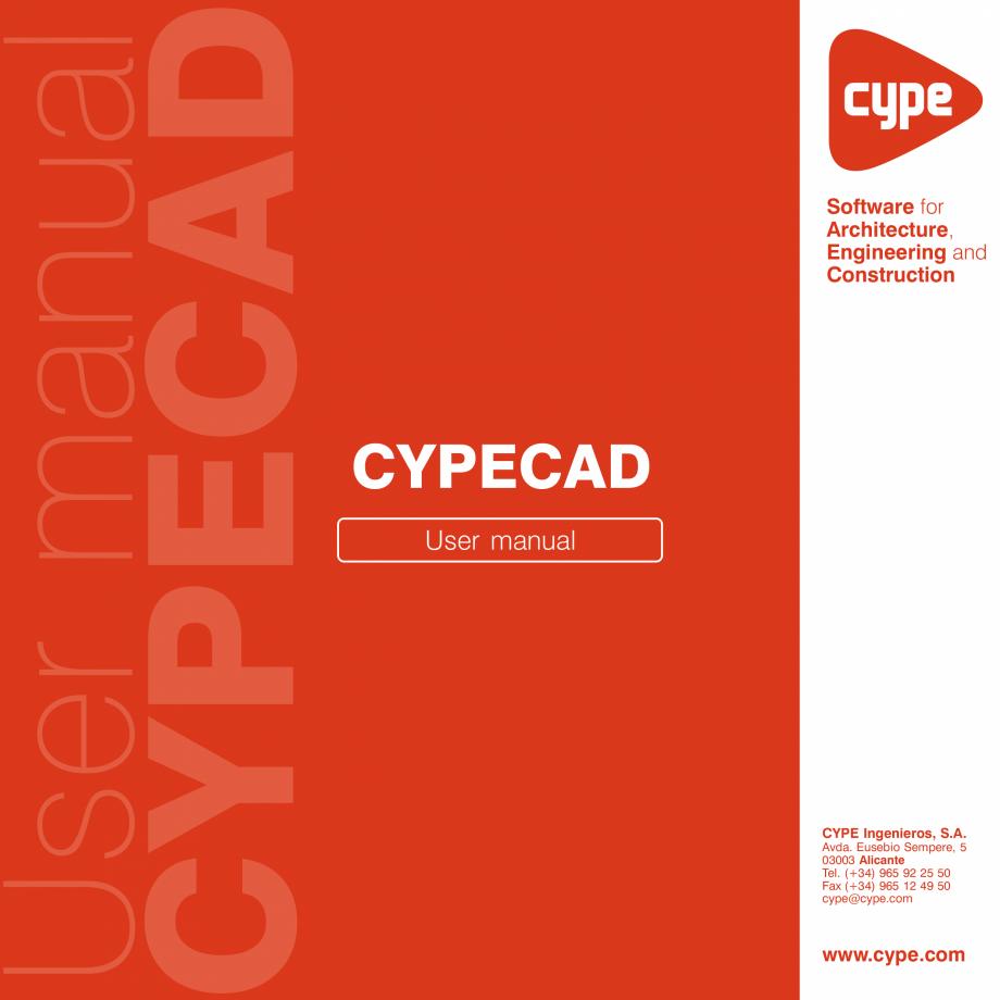 Pagina 1 - Manual de utilizare CYPE CYPECAD Instructiuni montaj, utilizare Engleza 2  IMPORTANT:...