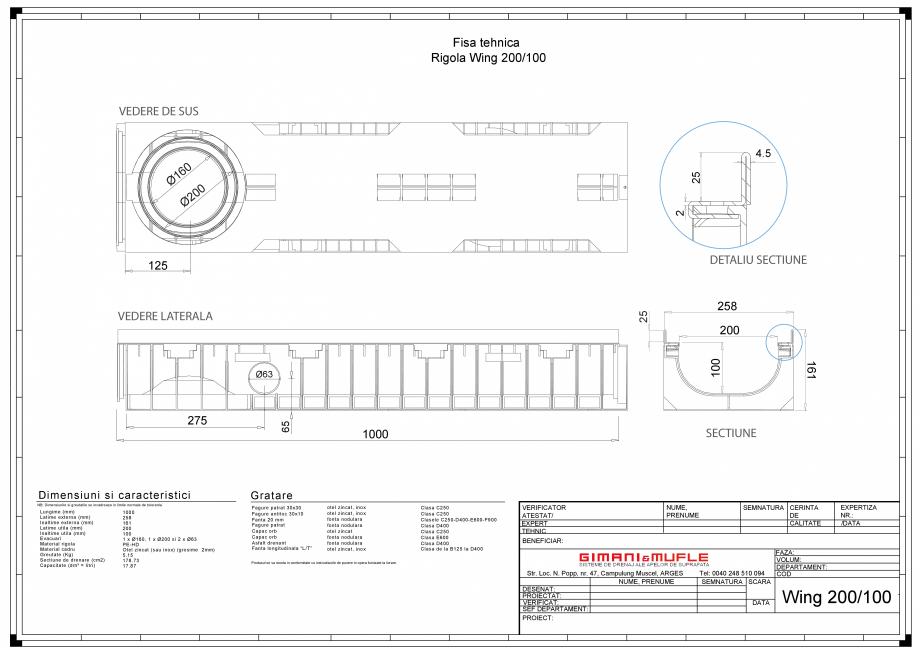 Pagina 1 - CAD-PDF Rigola 200-100 GIMANI&MUFLE Detaliu de produs WING