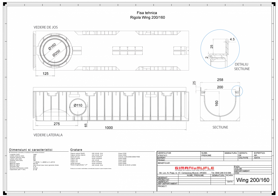 Pagina 1 - CAD-PDF Rigola 200-160 GIMANI&MUFLE Detaliu de produs WING