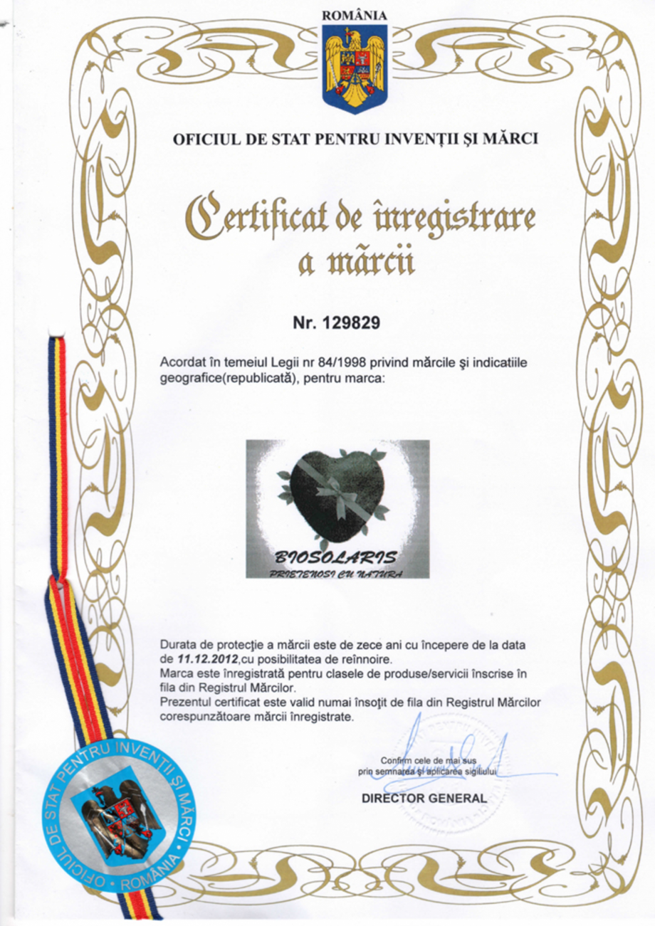 Pagina 1 - Certificat de inregistrare a marcii - Oficiul de Stat pentru Inventii si Marci ...