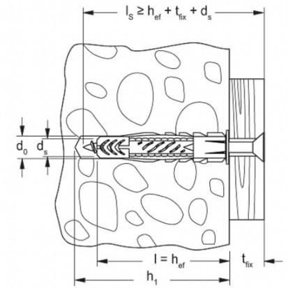 Diblu FISCHER - UX - desen tehnic UX Diblu nylon FISCHER