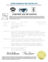 Certificat IAPMO STERN