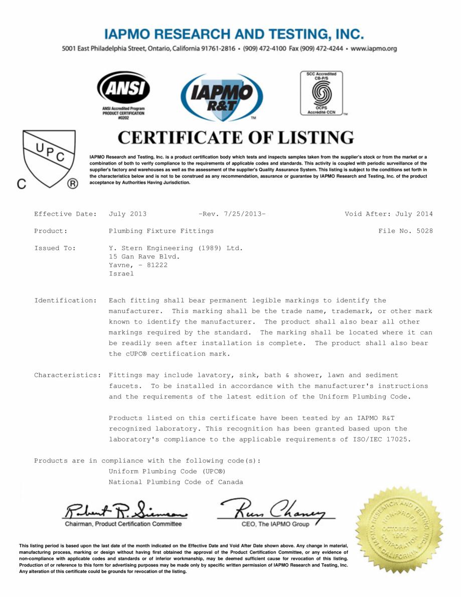 Pagina 1 - Certificat IAPMO STERN CONDOR, ELITE 1000B, EXTREM WM, SWAN 1000E, TRENDY, TRENDY 1000TB,...
