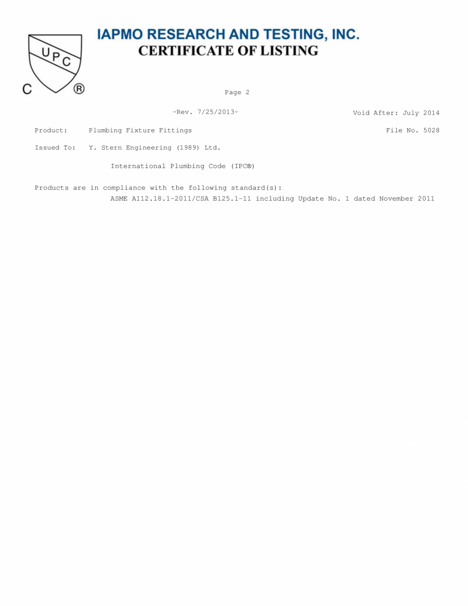 Pagina 2 - Certificat IAPMO STERN CONDOR, ELITE 1000B, EXTREM WM, SWAN 1000E, TRENDY, TRENDY 1000TB,...
