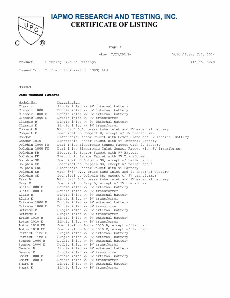 Pagina 3 - Certificat IAPMO STERN CONDOR, ELITE 1000B, EXTREM WM, SWAN 1000E, TRENDY, TRENDY 1000TB,...