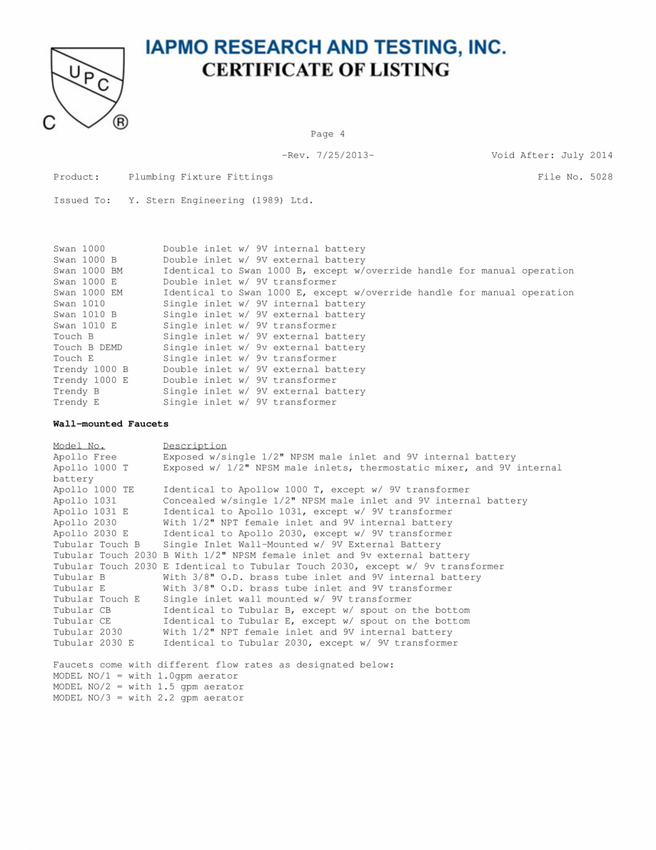 Pagina 4 - Certificat IAPMO STERN CONDOR, ELITE 1000B, EXTREM WM, SWAN 1000E, TRENDY, TRENDY 1000TB,...