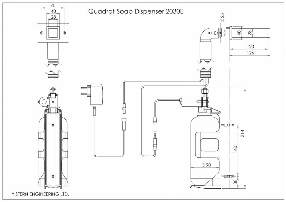 Pagina 1 - Dozator sapun - desen tehnic STERN QUADRAT Fisa tehnica Quadrat Soap Dispenser 2030E  28 ...