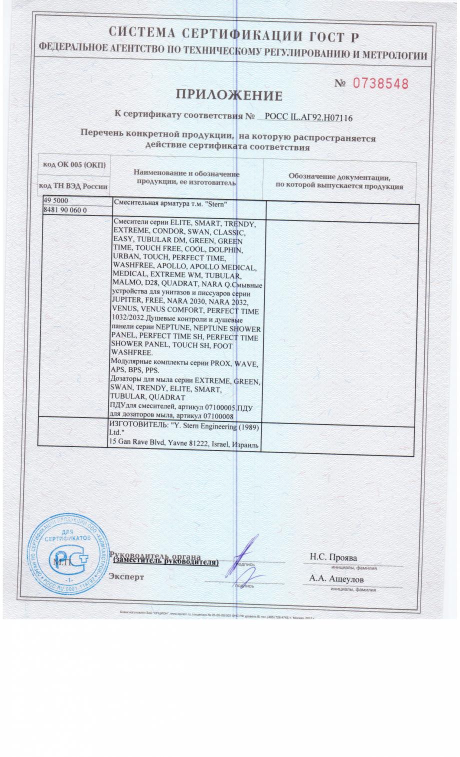 Pagina 2 - Certificat de conformitate STERN BEHIND MIRROR, ELITE B, ELITE PLUS, GREEN, QUADRAT,...